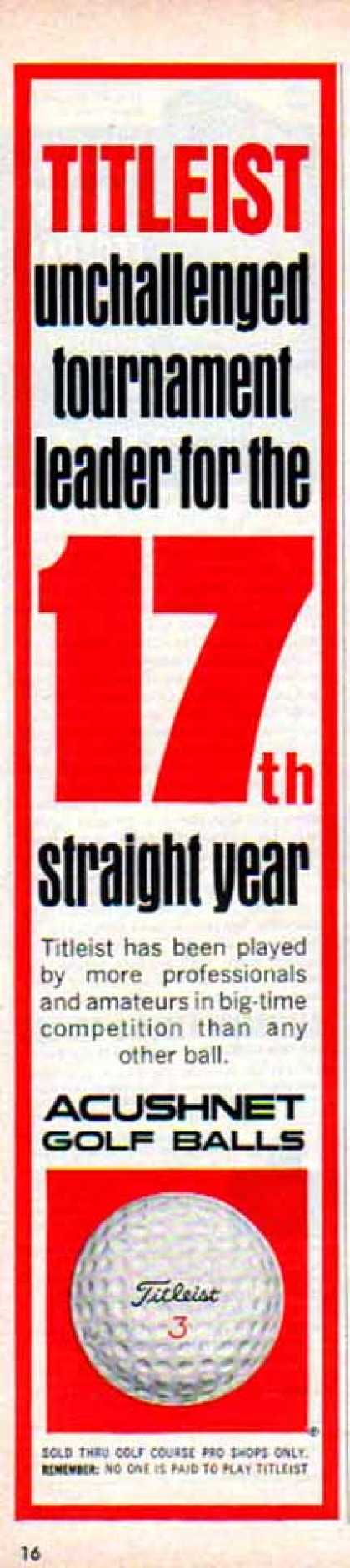 Titleist Acushnet Golf Ball – 17th straight year (1966)