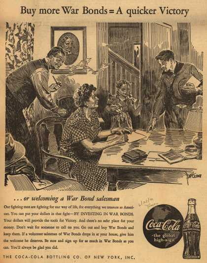 Coca-Cola Bottling Co. of New York's War Bonds – Buy more War Bonds = A quicker Victory (1944)