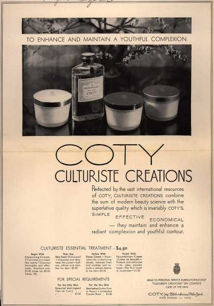 Coty's Culturiste Creations – To Enhance And Maintain A Youthful Complexion (1930)