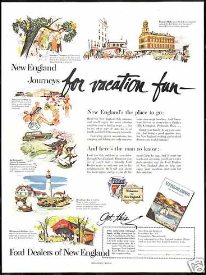 New England Journeys Book Travel Ford Dealers (1953)