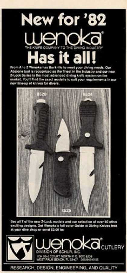 Wenoka Dive Knife Z-lock 8520 8524 8525 T (1982)