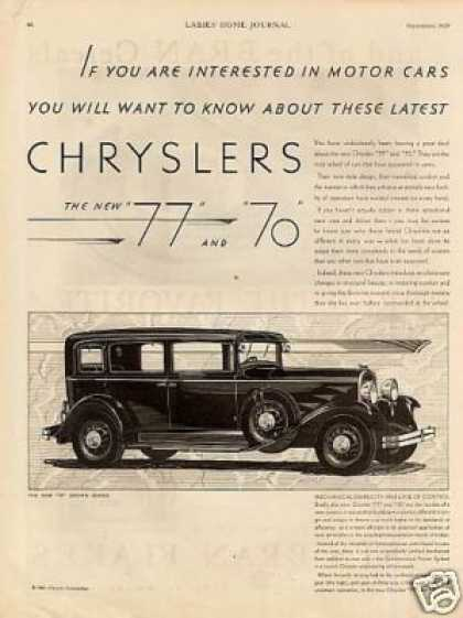 Chrysler 70 Royal Coupe & 77 Crown Sedan Ad 2 Page (1929)