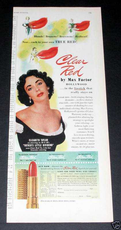 Max Factor Red, Elizabeth Taylor (1951)