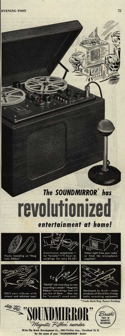 Brush Development Company's Magnetic Tape Recorder – The Soundmirror has Revolutionized Entertainment at Home (1946)