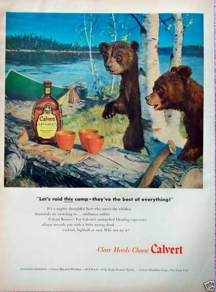 Calvert Reserve Whiskey Bear Cubs Raid Camp Canoe (1948)