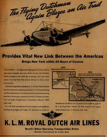 KLM Royal Dutch Airline's South America – The Flying Dutchman Again Blazes an Air Trail (1943)
