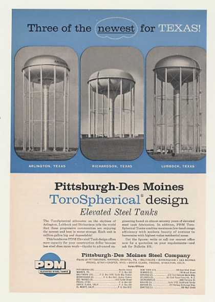 Texas PDM Steel ToroSpherical Water Tanks (1960)
