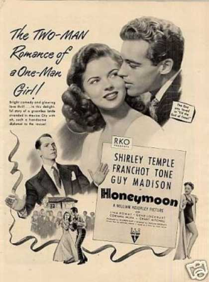 "Movie Ad ""Honeymoon"" Shirley Temple (1947)"