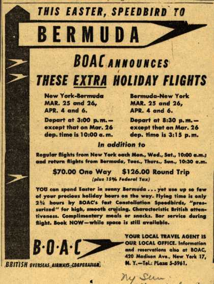 British Overseas Airways Corporation's Bermuda – THIS EASTER, SPEEDBIRD TO BERMUDA (1948)
