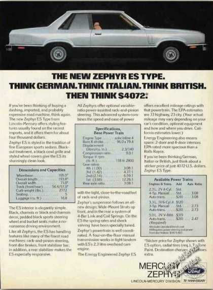 "Mercury Zephyr Es Type ""Think $4072"" (1978)"
