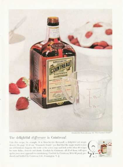 Cointreau Liqueur Strawberries Romanoff Bottle (1961)