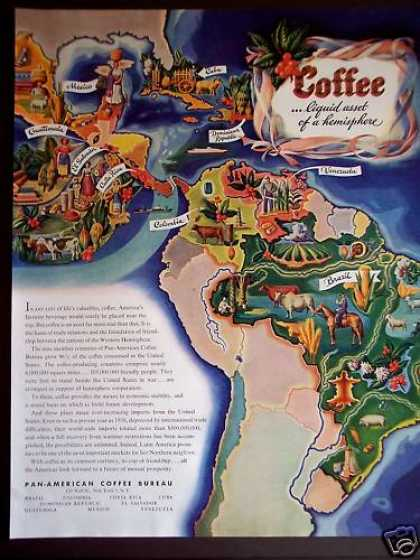 Pan-american Coffee Bureau Colorful Map (1946)