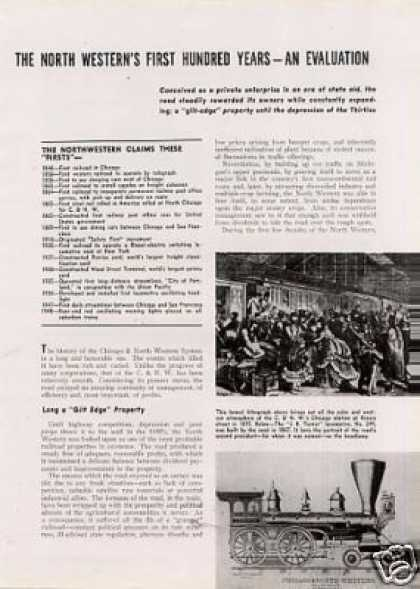 """The North Western's First 100 Years"" Article/c&nw (1948)"