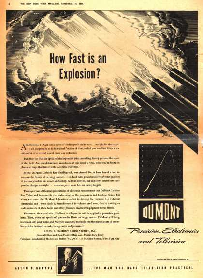 Allen B. DuMont Laboratorie's Corporate Ad – How Fast is an Explosion? (1943)