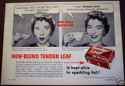 Tender Leaf Tea Bags Mrs. Dale Carnegie (1958)