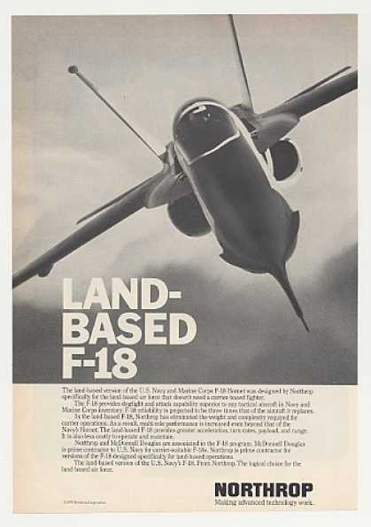 Northrop Land Based F-18 Hornet Aircraft Photo (1980)