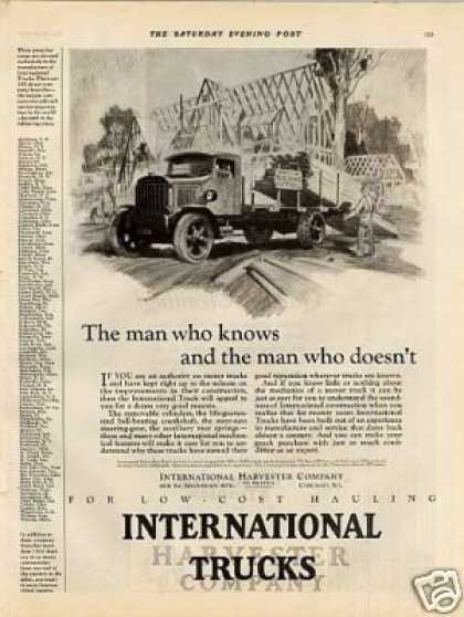 "International Truck Ad ""The Man Who Knows... (1925)"