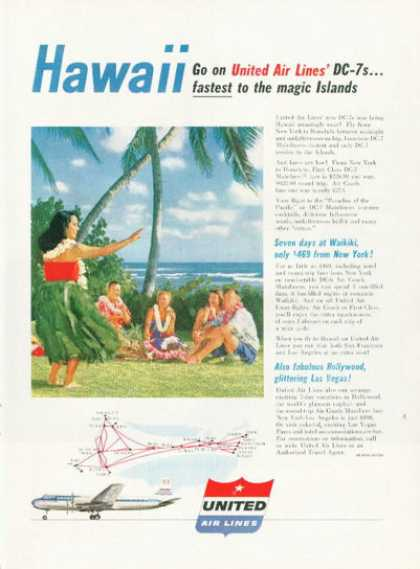 United Airlines Dc-7 Waikiki Hawaii (1955)