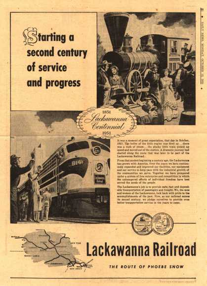Lackawanna Railroad – Starting a second century of service and progress (1951)