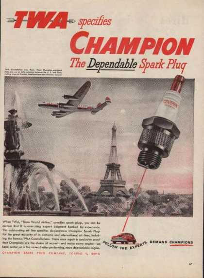 Twa Specifies Champion Spark Plugs (1946)