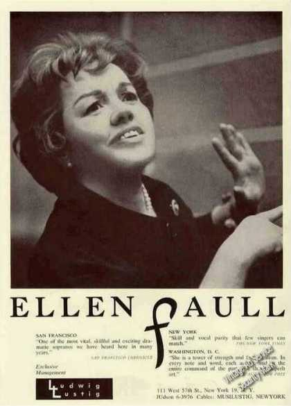 Ellen Faull Photo Dramatic Soprano Rare Booking (1963)