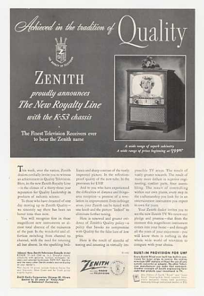Zenith Royalty Line TV Model K2260R Television (1952)