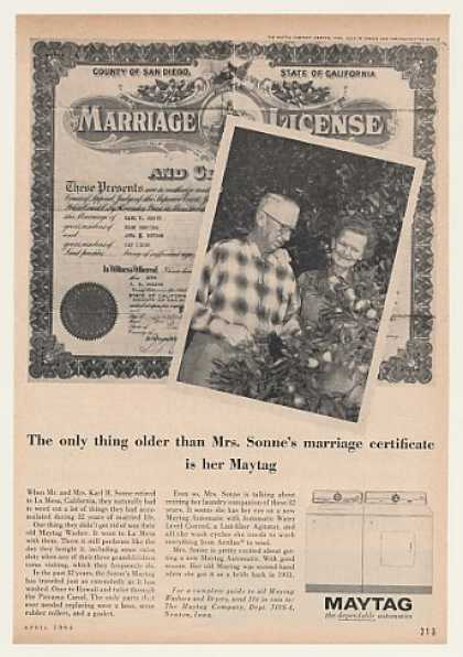 Mr & Mrs Karl H Sonne La Mesa CA Maytag Washer (1964)