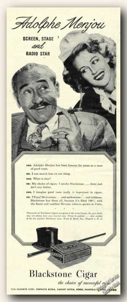 Adolphe Menjou Photo Blackstone Cigar (1945)