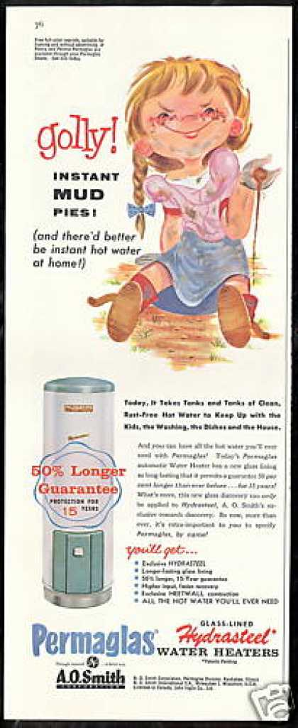 Girl Mud Pies Art AO Smith Water Heater (1958)