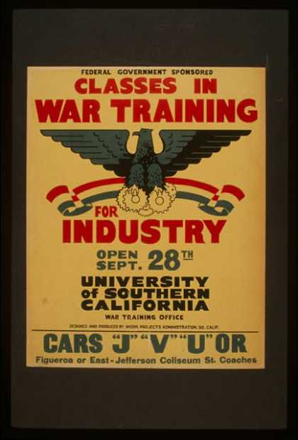 Federal government sponsored classes in war training for industry. (1941)