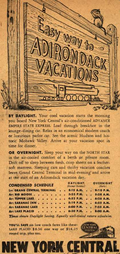 New York Central System's Adirondack Vacations – Easy way to Adirondack Vacations (1947)