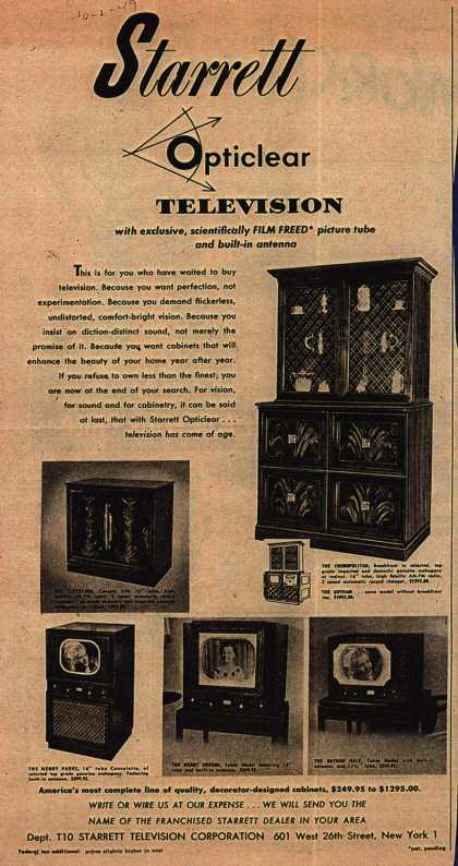 Starrett Television Corporation's various – Starrett Opticlear Television (1949)
