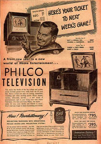 Philco's Television – Here's Your Ticket To Next Week's Game (1947)
