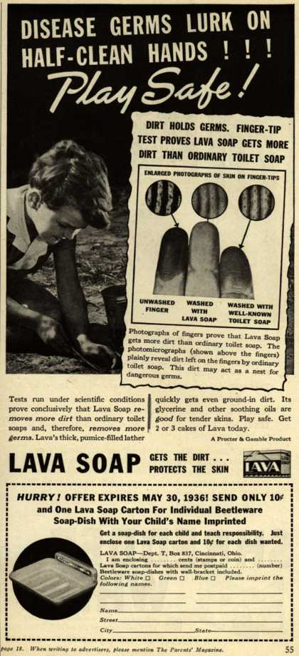 Procter & Gamble Co.'s Lava Soap – Disease Germs Lurk On Half-Clean Hands!!! Play Safe (1936)