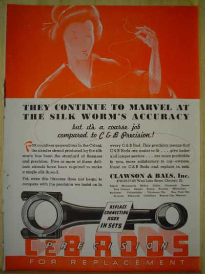 Clawson and Bales Inc. C & B Rods AND Burd High Speed Piston Rings (1937)