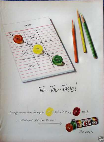 Life Savers Candy Tic Tac Toe Taste Game Paper (1949)
