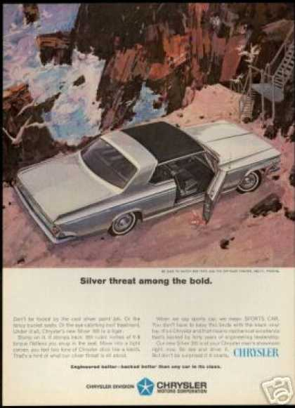 Silver Chrysler 300 Vintage Print Car (1964)