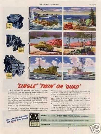 "Gm Diesel Engines Ad ""Single, Twin or Quad"" (1945)"