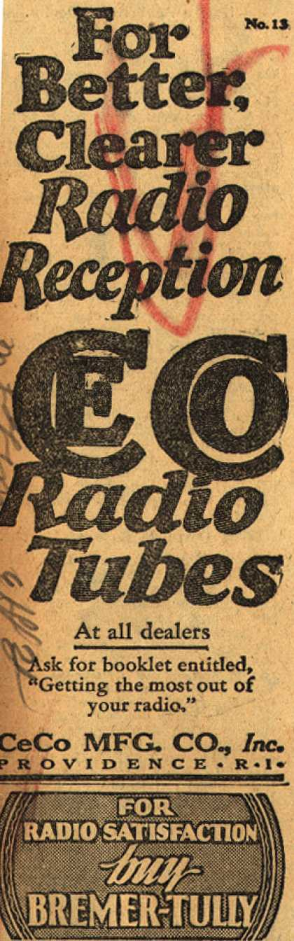 CeCo Manufacturing Company's CeCo Radio Tubes – For Better Clearer Radio Reception (1928)