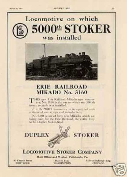 Locomotive Stoker Ad Erie Railroad 2-8-2 #3160 (1923)