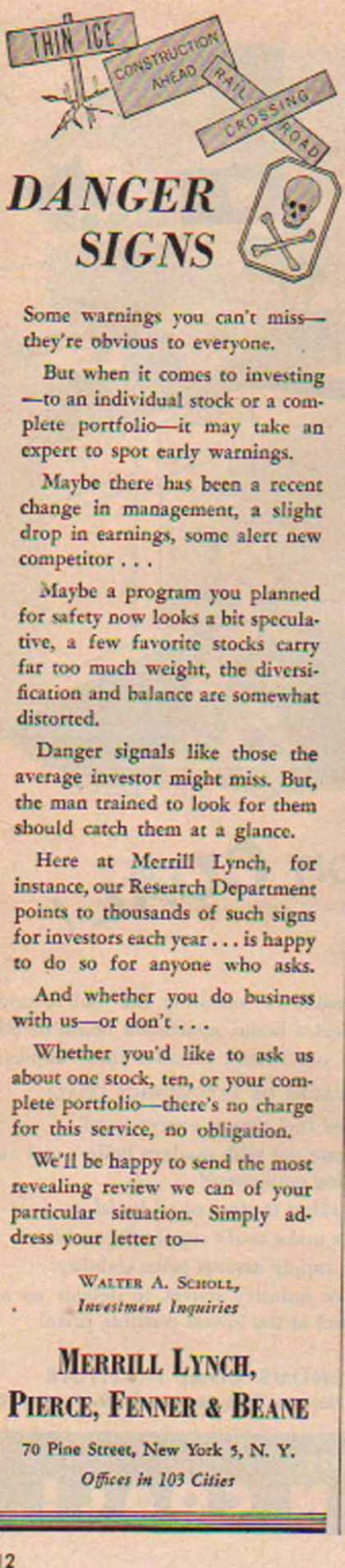 Merrill Lynch, Pierce, Fenner & Bean – Sold (1952)
