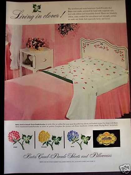 50's Pink Bedroom Decor Bates Clover Sheets (1953)