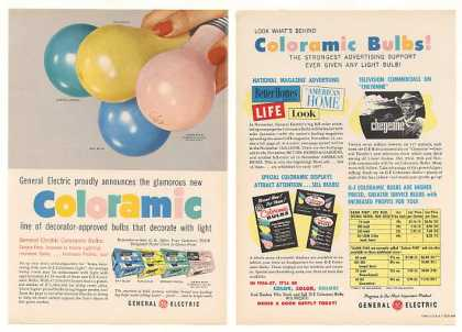 GE General Electric Coloramic Light Bulbs Trade (1956)