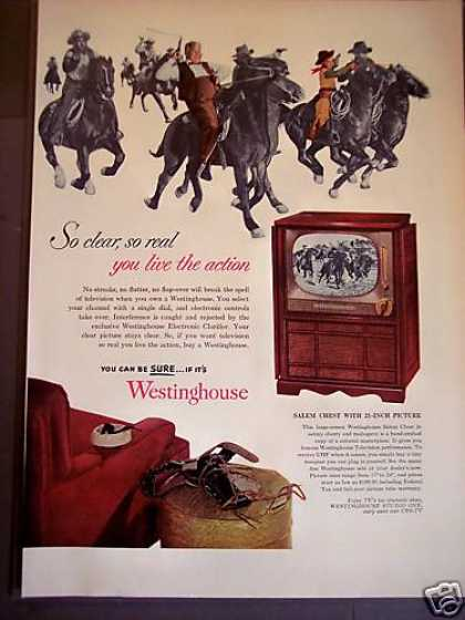 Westinghouse Tv Television Set Cowboys (1952)
