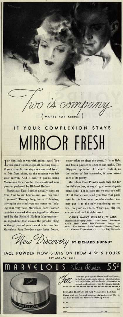 Richard Hudnut's Marvelous Beauty Aids – Two is company (maybe for keeps!) If your complexion stays Mirror Fresh (1934)