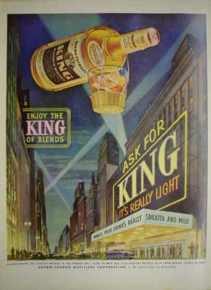 King Whiskey Brown-Forman Distillers King of blends (1952)