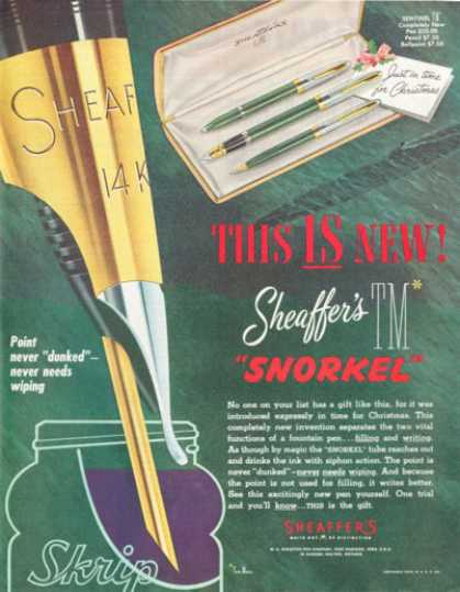 Sheaffers Snorkel Sentinel Pencil Ballpoint Pen (1952)