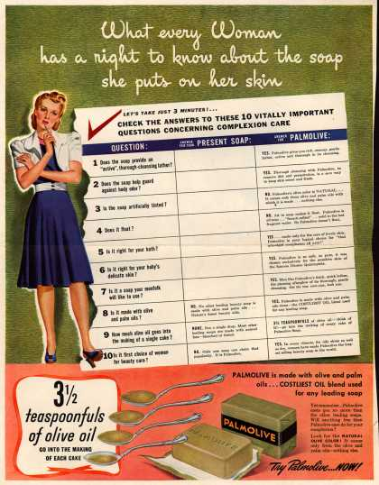 Palmolive Company's Palmolive Soap – What every Woman has a right to know about the soap she puts on her skin (1941)