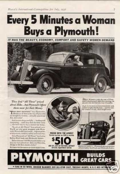 "Plymouth Car Ad ""Every 5 Minutes a Woman... (1936)"