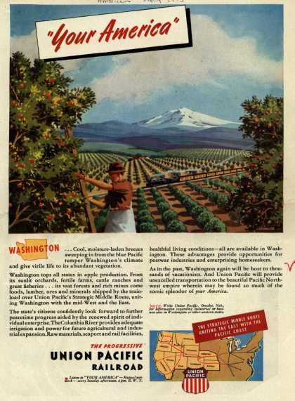 "Union Pacific Railroad's Middle Route – ""Your America"" Washington (1945)"